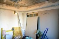 Обшивка ГКЛ стены сусилением подкухонный гарнитур